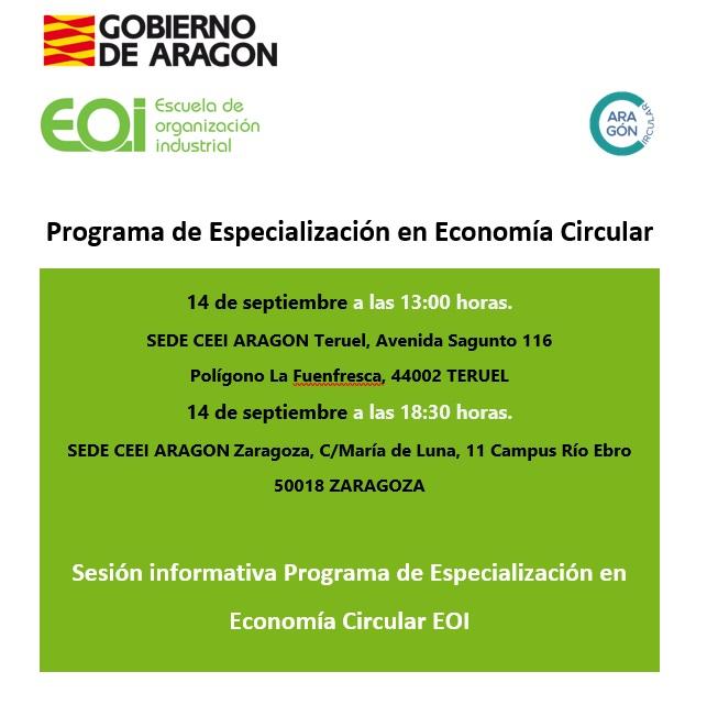 SESIONES INFORMATIVAS SOBRE PROGRAMA FORMATIVO DE ESPECIALIZACIÓN EN ECONOMIA CIRCULAR