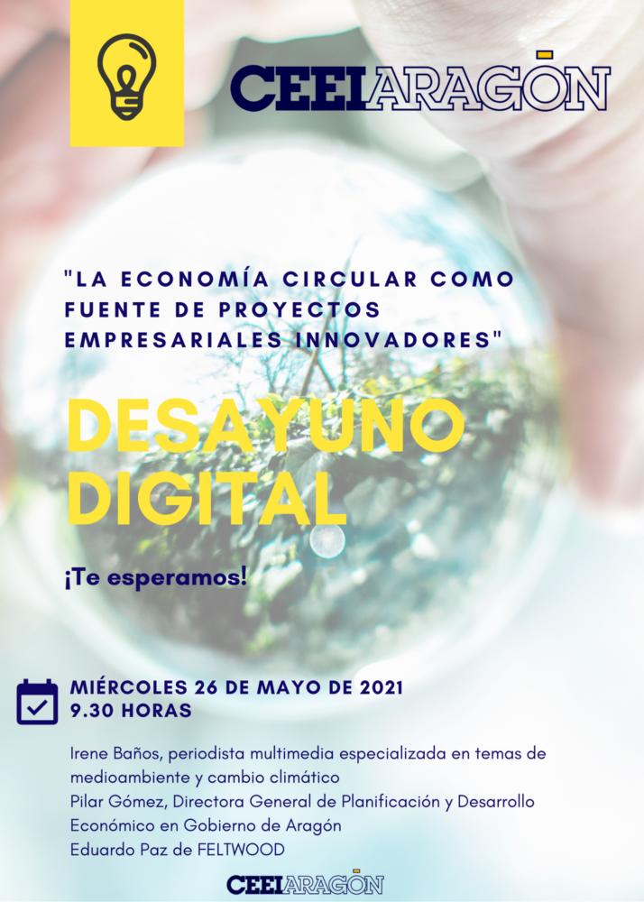Cartel del desayuno digital CEEIARAGON sobre economía circular como fuente de proyectos innovadores