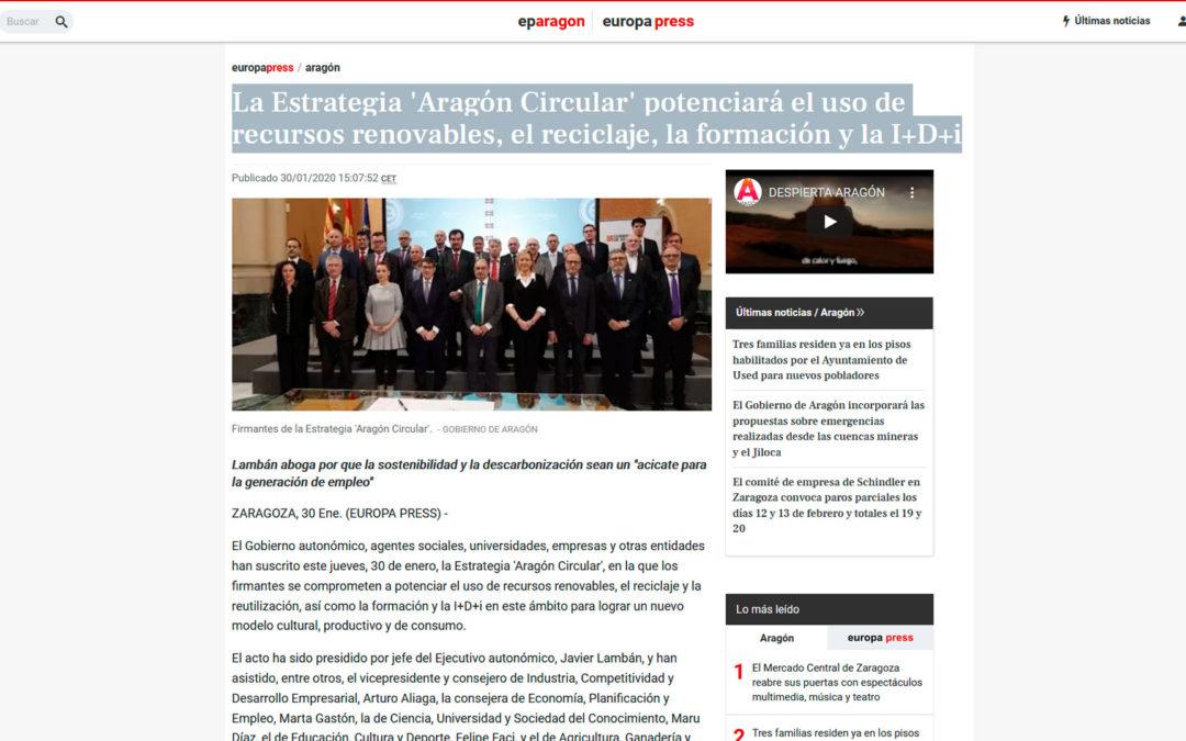 La Estrategia 'Aragón Circular' potenciará el uso de recursos renovables, el reciclaje, la formación y la I+D+i