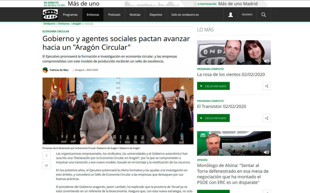 """Gobierno y agentes sociales pactan avanzar hacia un """"Aragón Circular"""""""